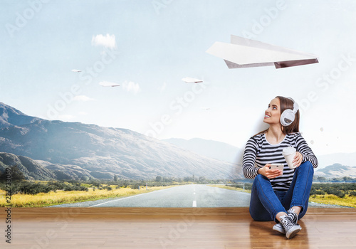 Girl enjoy the music . Mixed media - 222733069