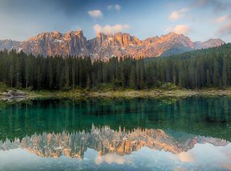 Alps lake landscape with forrest mountain, Lago di Carezza - Dolomites