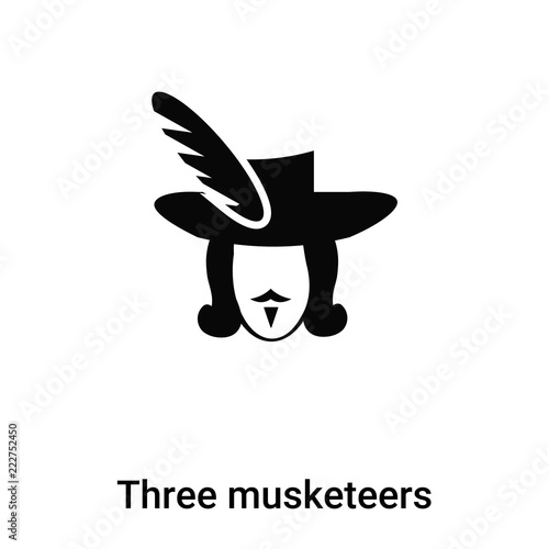 Three musketeers icon vector isolated on white background, logo concept of Three musketeers sign on transparent background, black filled symbol