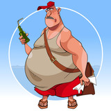 cartoon sad fat man in summer clothes with a bottle in his hand - 222755256