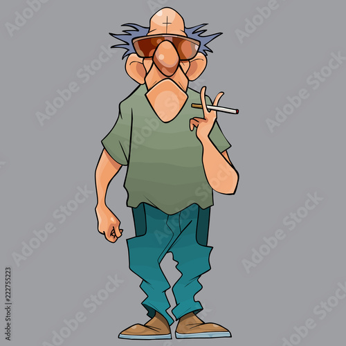 cartoon bald man with a cigarette in his hand - 222755223