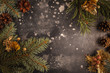 Christmas frame on dark. Spruce and cones branches. - 222759428