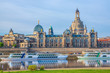 Leinwanddruck Bild - Old Town architecture with Elbe river in Dresden, Saxrony, Germany