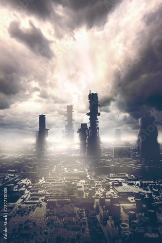Fototapeta samoprzylepna photomanipulation of a skyscraper from a motherboard