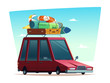 Cartoon modern retro illustration of traveling by car or summer camping