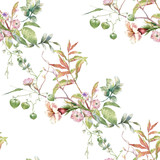 Watercolor painting of leaf and flowers, seamless pattern on white background - 222774876