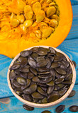 Pumpkins on rustic blue background. Autumn background. - 222777886