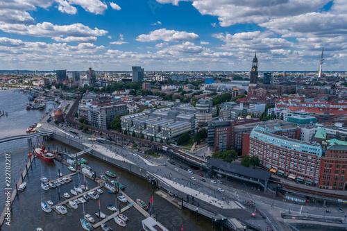 Leinwanddruck Bild Aerial View on Elbphilharmonie in Hamburg. Summer city landscape.