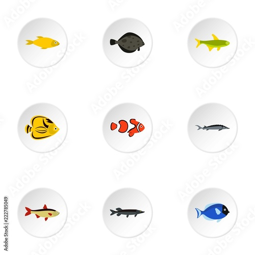 Tropical fish icons set. Flat illustration of 9 tropical fish vector icons for web - 222785049