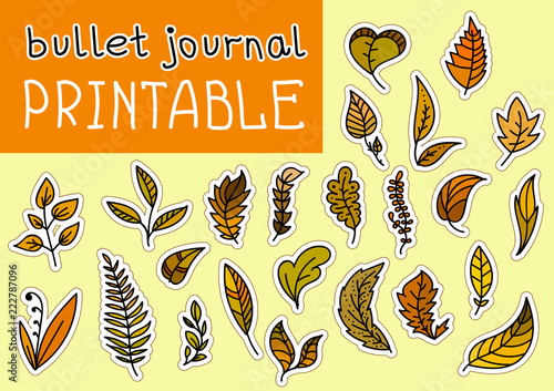 set of bulet journal autumn leaves printable with outline for