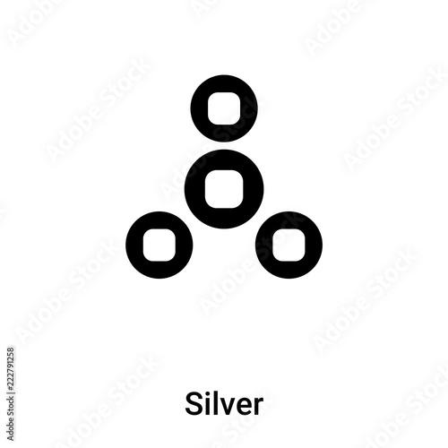 Srebny ikona wektor odizolowywający na białym tle, loga pojęcie Srebny znak na przejrzystym tle, czerń wypełniał symbol