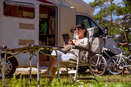 Family vacation travel, holiday trip in motorhome RV