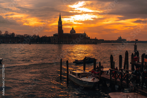 Gondolas moored by Saint Mark square - 222792246