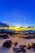 Leinwandbild Motiv Beautiful colours of clouds and sky during sunrise at Rawai beach, Phuket