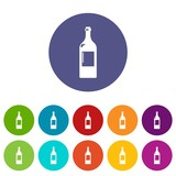 Alcohol bottle icons color set vector for any web design on white background
