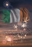 Fireworks and flag of Ireland