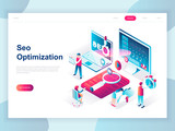 Modern flat design isometric concept of SEO Analysis for banner and website. Isometric landing page template. Search engine optimization, strategies and marketing. Vector illustration. - 222802657