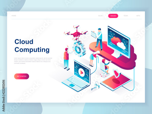 Modern Flat Design Isometric Concept Of Cloud Technology For Banner And  Website. Isometric Landing Page