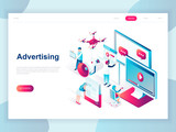 Modern flat design isometric concept of Advertising and Promotion for banner and website. Isometric landing page template. Social media campaign, marketing research. Vector illustration. - 222802896