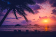 Leinwanddruck Bild - Beautiful tropical beach with palm trees. Sunrises and sunsets. Ocean