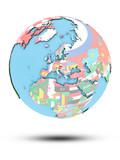 Austria on political globe with flags - 222807265