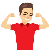 Young happy attractive strong man showing muscle strength concept - 222812248