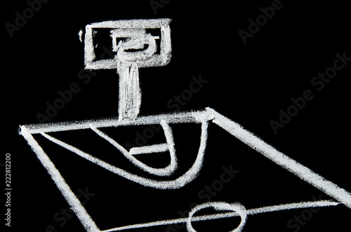 Draw a basketball court with chalk on the chalkboard - 222812200