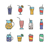 set of colorful beverage icons - 222815282