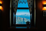 view through the window alpine hut, mountain landscapes, Italian Alps