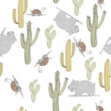 Vector hand drawn seamless pattern with cactuses and animals - 222821255