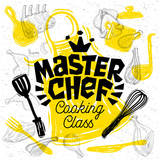Sketch style master chef cooking class lettering. Sign, logo, emblem. Pan, pot, knife, fork apron chicken meat ribs steaks, wings. Hand drawn vector illustration - 222821835