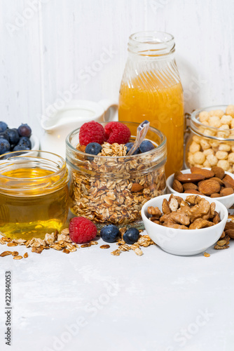 Wall mural delicious products for a healthy breakfast, vertical