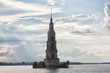 Leinwanddruck Bild - Flooded bell tower of St. Nicholas Cathedral in Kalyazin before the rain . Russia