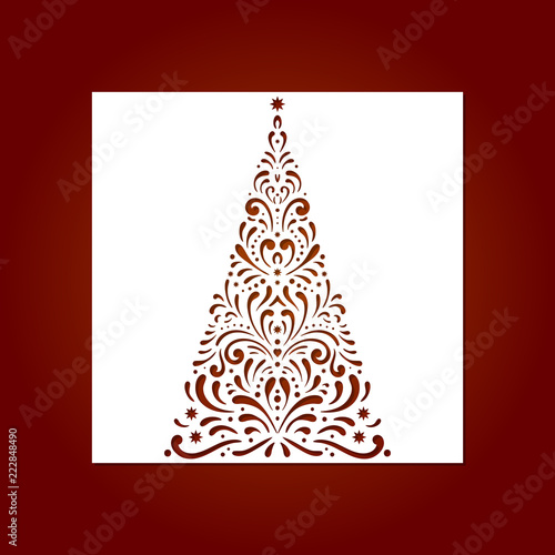 Laser Cut Template For Christmas Cards With Christmas Tree