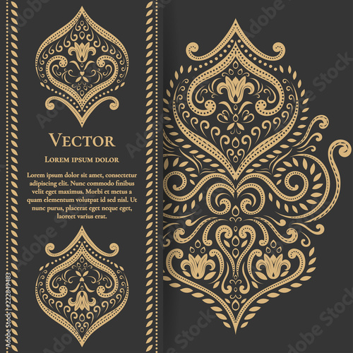 Gold vintage greeting card on a black background. Luxury vector ornament template. Mandala. Great for invitation, flyer, menu, brochure, postcard, wallpaper, decoration, or any desired idea. - 222849483