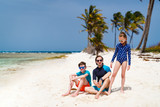 Father with kids at beach - 222852614