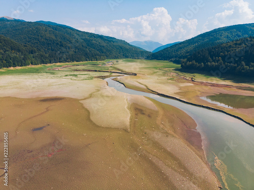 aerial view of dry lake in mountains - 222855605