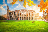 ruins of antique Colosseum with grass lawn in sunise lights, Rome Italy at fall