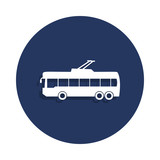 trolleybus icon in badge style. One of cars collection icon can be used for UI, UX