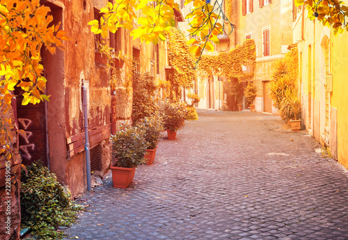 view of old town italian street in Trastevere with sunshine, Rome, Italy at fall - 222859085
