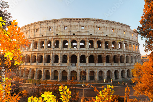 view of Colosseum building in Rome, Italy at fall