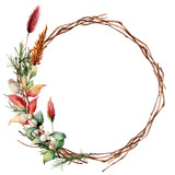 Watercolor wreath with leaves and tree branch. Hand painted tree border with snowberry, dahlia and leaves, lagurus isolated on white background. Illustration for design, fabric or background. - 222865441