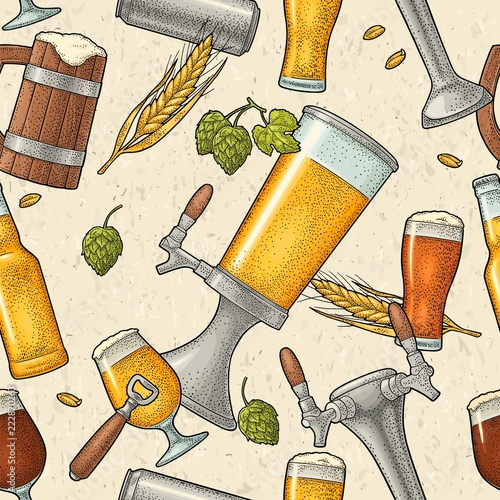 Fototapeta Seamless pattern beer tap, class, can, bottle and hop.