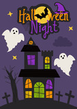 Halloween night card design with castle and ghosts  - vector illustration, eps - 222870688