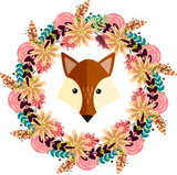 Vector illustration of fox and floral wreath, separated illustration with fox and flowers for card,invitation, sticker,button,logo,tags,labels - 222873489