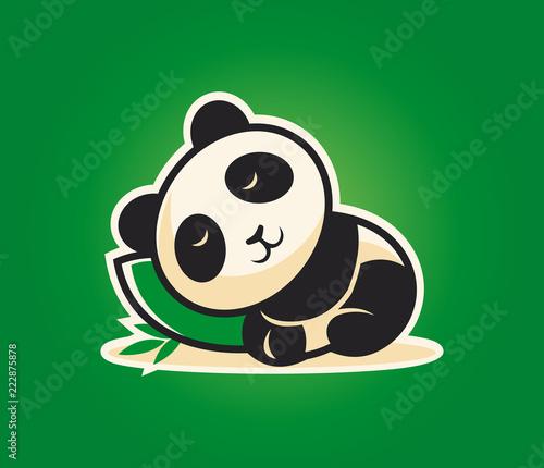 Fototapeta Cute panda character sleeping on a pillow