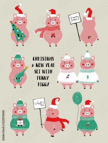 Christmas Set With Cute Pig.