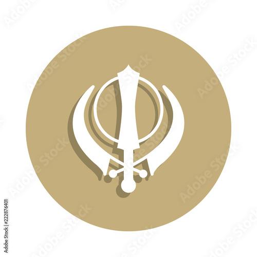 Sikhism Khanda Sign Icon In Badge Style One Of Religion Symbol