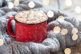 Cocoa in Red Mug with Marshmallows - 222878036