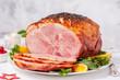Smoked Roasted Glazed Holiday Pork Ham - 222878432